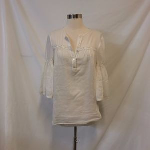 Trina Turk Cream Sheer Popover Blouse Size 0